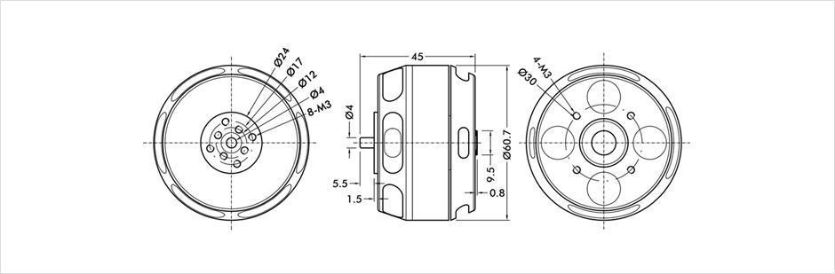 Dessin technique avec les cote du moteur U7 490kv